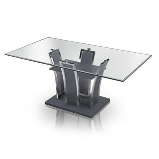 furniture of america ziana contemporary rectangular tempered glass dining table - Kitchen Glass Table