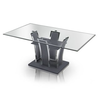 Superbe Furniture Of America Ziana Contemporary Rectangular Tempered Glass Dining  Table