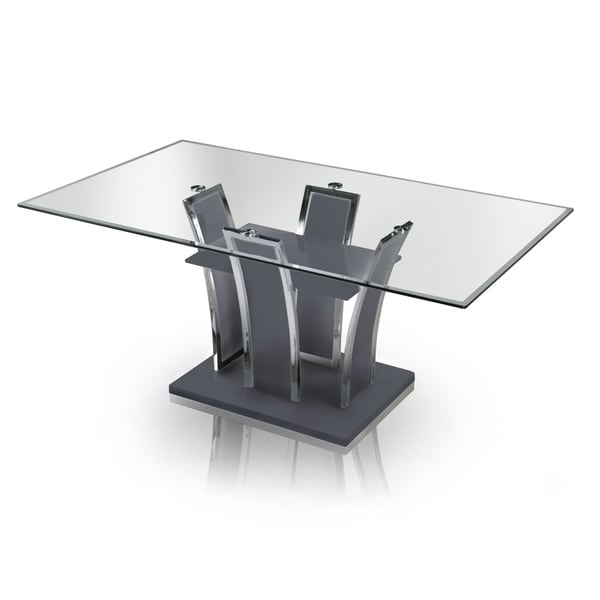 Furniture of America Resk Contemporary Grey 72-inch Metal Dining Table