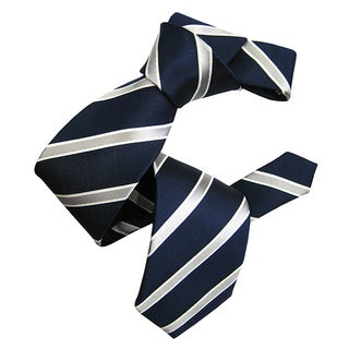 Dmitry Men's Navy Italian Silk Striped Tie
