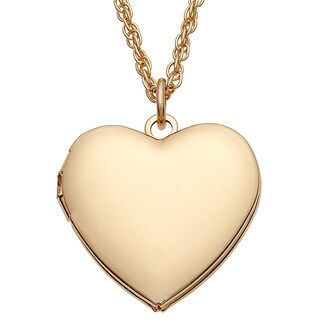Goldtone Metal Heart Locket Pendant Necklace