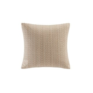 INK+IVY Tait Taupe Cotton Embroidered Block Decorative Throw Pillow