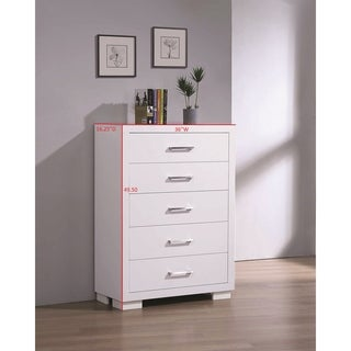 Coaster Company Jessica White Wood 5-Drawer Storage Chest