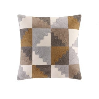 INK+IVY Neve Natural Cotton Embroidered Native Key Decorative Throw Pillow