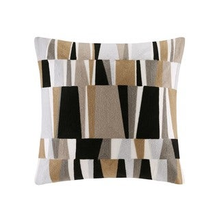 INK+IVY Lars Natural Cotton Embroidered Stripe Decorative Throw Pillow