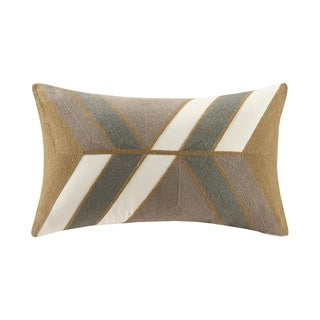 INK+IVY Aero Natural Cotton Embroidered Abstract Decorative Throw Pillow