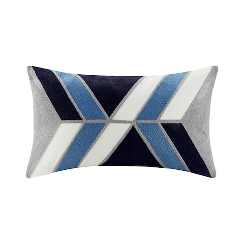 INK+IVY Aero Cotton Embroidered Abstract Oblong Pillow