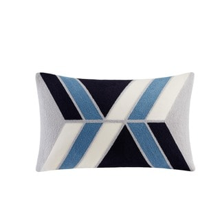 INK+IVY Aero Blue Cotton Embroidered Abstract Decorative Throw Pillow