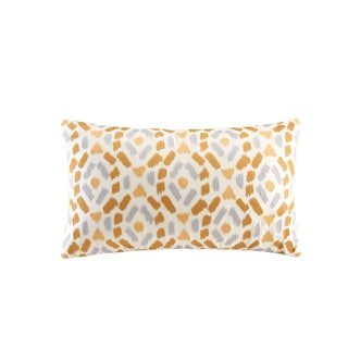 INK+IVY Auden Natural Cotton Embroidered Ogee Ikat Decorative Throw Pillow