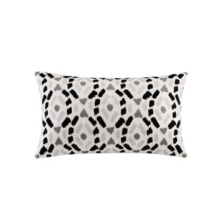 INK+IVY Auden Black Cotton Embroidered Ogee Ikat Decorative Throw Pillow