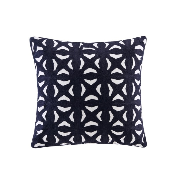 Ink Ivy Nova Navy Cotton Embroidered Fret Decorative Throw