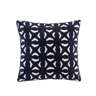 INK+IVY Nova Navy Cotton Embroidered Fret Decorative Throw Pillow