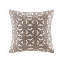 INK+IVY Nova Taupe Cotton Embroidered Fret Decorative Throw Pillow