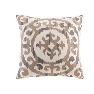 INK+IVY Mead Natural Cotton Embroidered Medallion Decorative Throw Pillow