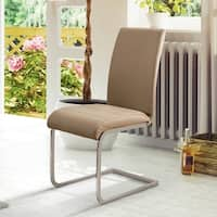 Furniture of America Creme Contemporary Leatherette Dining Chair (Set of 2)