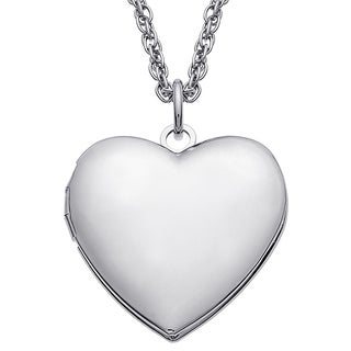 Silvertone Brass Heart Locket Chain