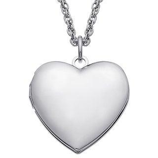 Silvertone Brass Heart Locket Chain