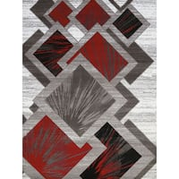 Gallery Tayah Red/Grey Polypropylene Accent Rug - 2' x 3'