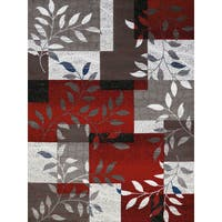 Westfield Home Red/Grey/Silver/White Polypropylene Gallery Mila Area Rug - 7'10 x 10'6