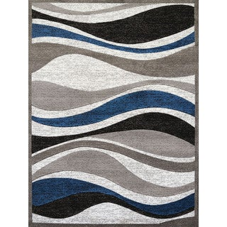 Westfield Home Grey/White/Back/Blue Polypropylene Gallery Emmaline Area Rug (5'3 x 7'2) (As Is Item)