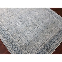 Hand-Knotted Bethel Sky Blue New Zealand Wool Area Rug - 2' x 3'