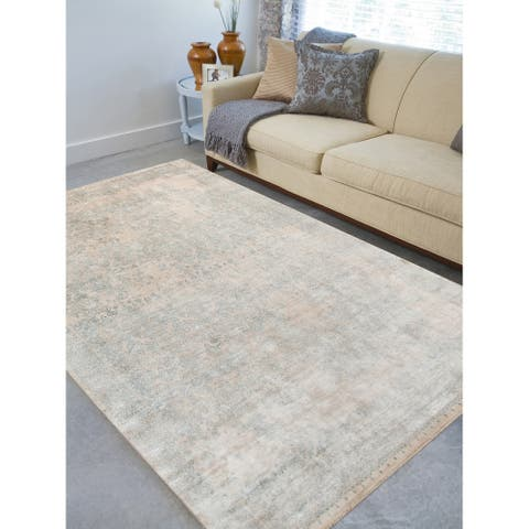 Hand-Knotted Abel Ivory New Zealand Wool Area Rug (2'x3') - 2' x 3' Oval