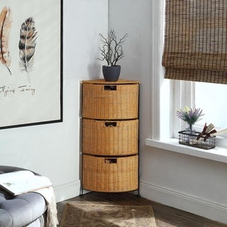 Corner 3-wedge shape drawers Corner Black metal and Honey Wicker Chest