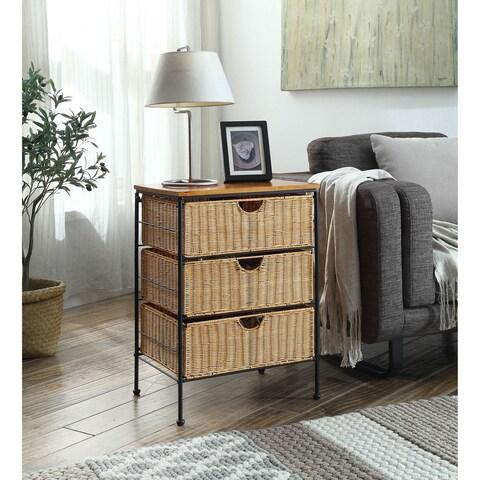 Tan/Black/Brown Wicker/Metal/Wood 3-drawer Chest