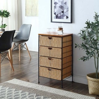 4-drawer Chest with Honey Colored Wicker and Black Metal Frame