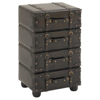 Urban Designs Hamilton Brown Wood/Leather Side Accent Chest