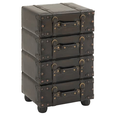Hamilton Brown Wood/Leather Side Accent Chest