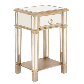 Urbans Designs Christie Wooden Mirror Side Table Nightstand with Drawer