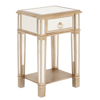Christie Wooden Mirror Side Table Nightstand with Drawer