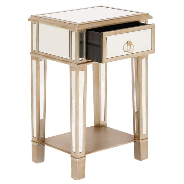 online retailer 69e17 d3e91 Christie Wooden Mirror Side Table Nightstand with Drawer