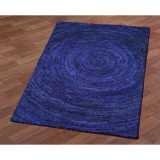 Brilliant Ribbon Blue Hurricane Rug (5' x 8') - 5' x 8'
