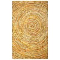 Brilliant Ribbon Yellow Hurricane Rug (8' x 10') - 8' x 10'