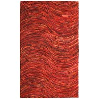 Brilliant Ribbon Red Wave Rug (5' x 8') - 5' x 8'