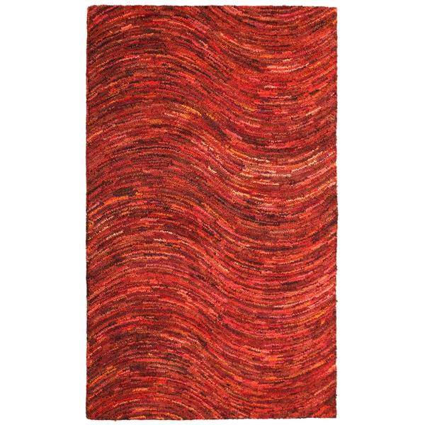 Brilliant Ribbon Red Wave Rug (4' x 6')