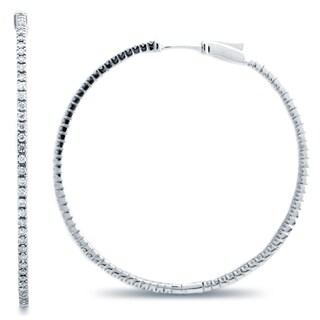 Azaro 14k White Gold 1 1/5ct TDW Diamond Hoop Earrings