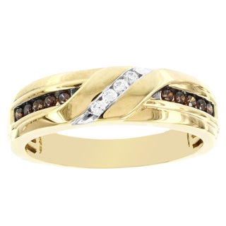 H Star Men's 10k Yellow Gold 1/3ct TDW Chocolate and White Diamond Wedding Band (I-J, I2-I3)
