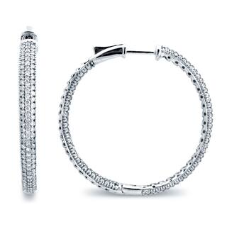 Azaro 14k White Gold 2ct TDW 3-row Diamond Hoop Earrings https://ak1.ostkcdn.com/images/products/12513168/P19319731.jpg?impolicy=medium