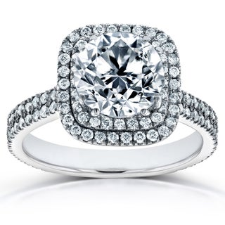 Annello by Kobelli 14k White Gold Certified 2 1/4ct Round Diamond Double Halo Engagement Ring