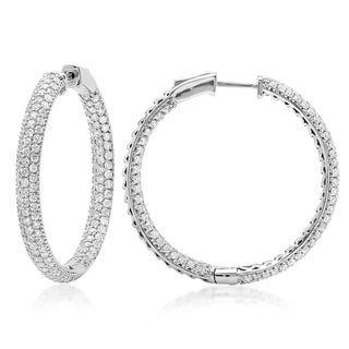 Azaro 14k White Gold 4 1/3ct TDW 3-row Diamond Hoop Earrings (G-H, SI1-SI2)