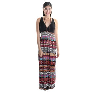 Hadari Women's Halter V-Neck Maxi Dress