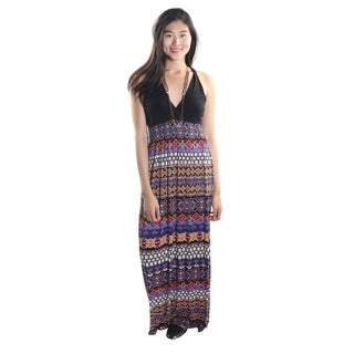 Hadari Women's Halter V-Neck Maxi Dress