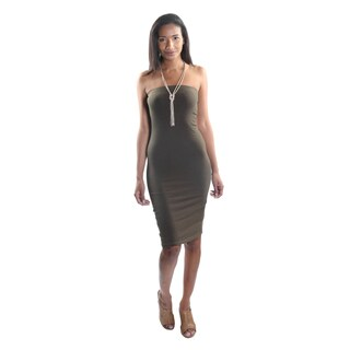 Hadari Women's Strapless Bodycon Midi Dress