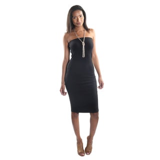 Hadari Women's Strapless Bodycon Midi Dress