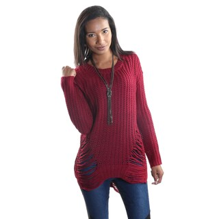 Hadari Women's Round Neck Long Sleeve Woven Sweater Tunic