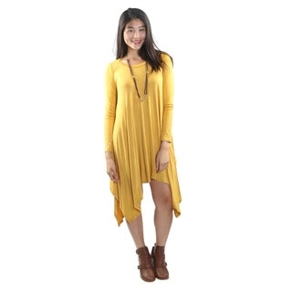 Hadari Women's Long Sleeve Round Neck Dress