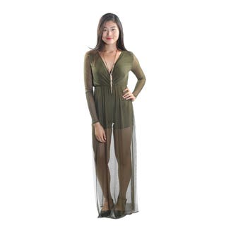 Hadari Women's Sheer Long Sleeve V-Neck Romper with Sheer Leg Slits (Option: Green)|https://ak1.ostkcdn.com/images/products/12513264/P19319791.jpg?impolicy=medium